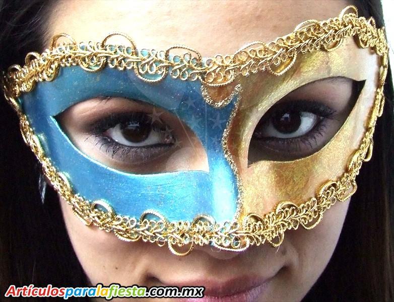 Antifaz italiano arlequin azul y oro for Disfraces antifaz